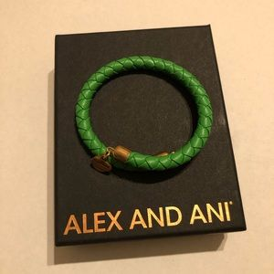 Alex and Ani Palm Green Leather Wrap Bracelet